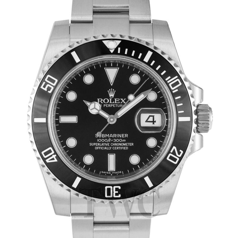 Rolex Submariner, Dive Watch, Chromalight, Waterproof, Black