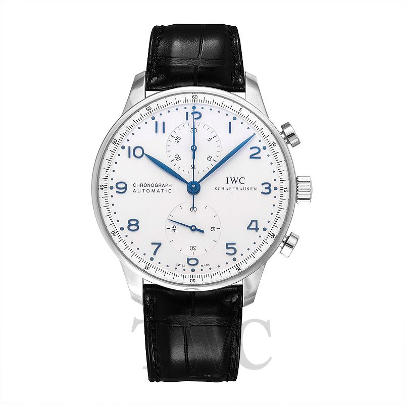 IWC Portugieser Chronograph, Stylish, Dress Watch, Silver-Plated Dial, White, Leather
