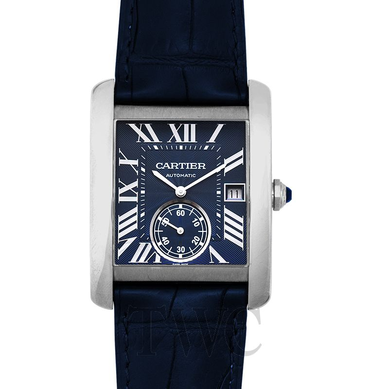 Cartier Tank MC Blue Dial, Dress Watch, Geometric, Sleek, Dark Blue