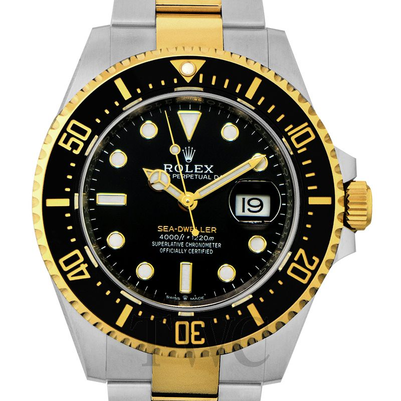 Sea-Dweller Oystersteel and 18 ct Yellow Gold Automatic Black Dial Unisex Watch, Mechanical Watches, Unidirectional Watch, Remarkable-looking Watch, Date Display