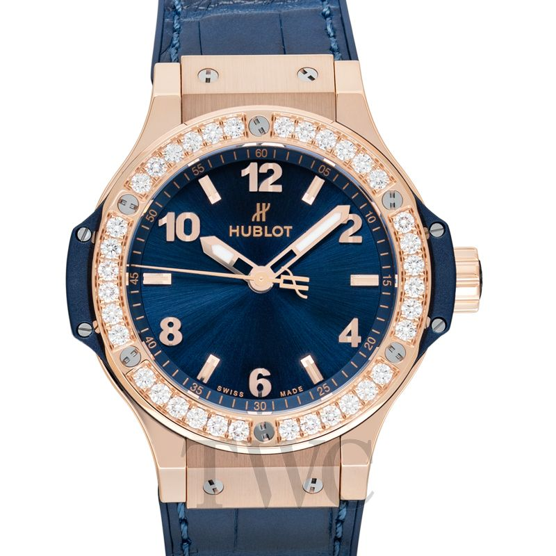 Hublot One Click King Gold Blue Diamonds, Ornamental Design, Diamonds, Luxury Watch, Swiss Watch, Automatic Watch