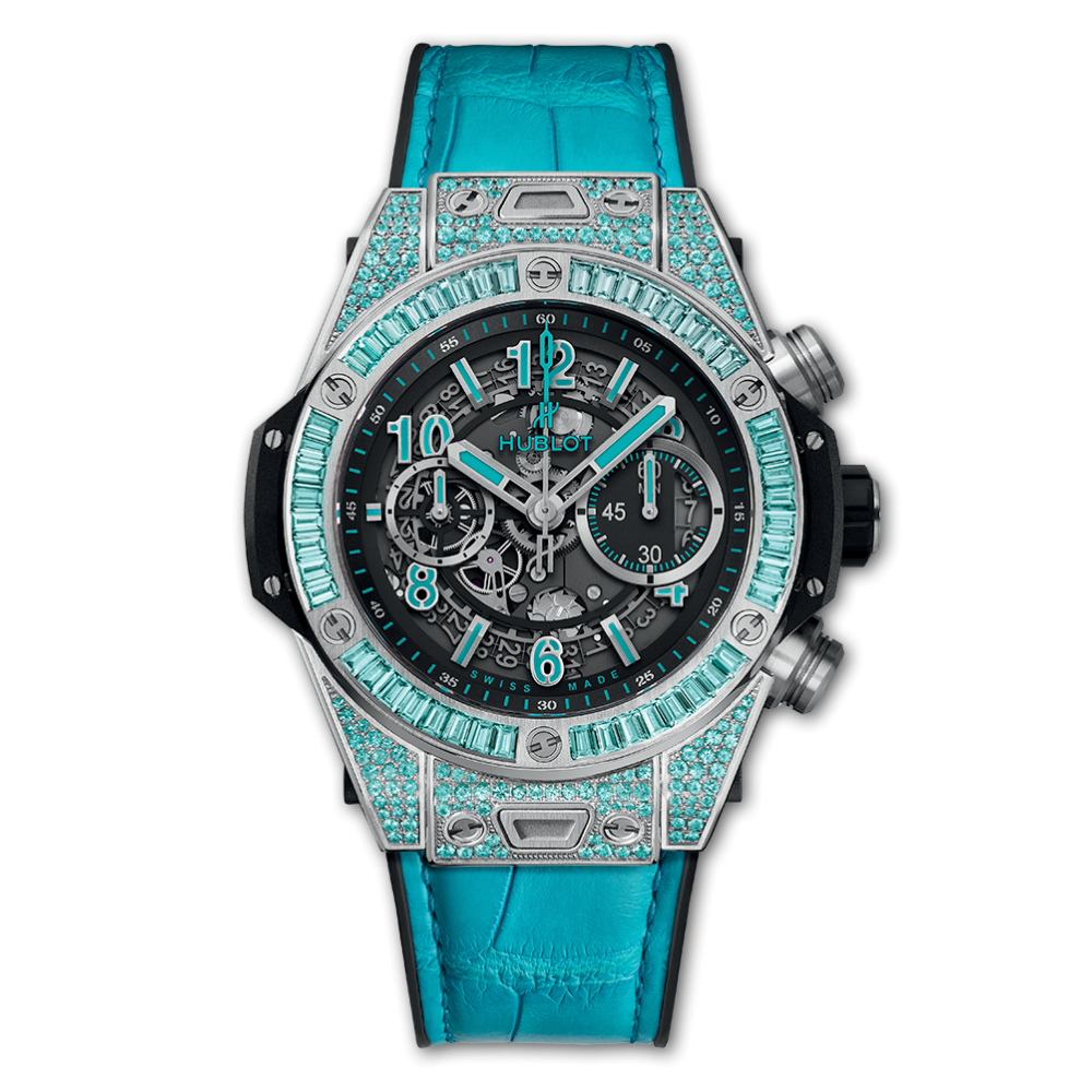 Hublot Unico White Gold Paraiba, Blue Watch, Luxury Watch, Swiss Watch