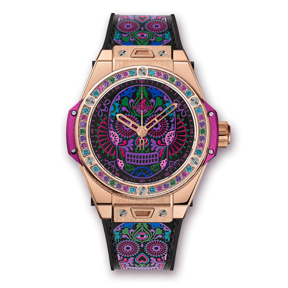 Hublot Calavera Catrina King Gold, Limited Edition Watch, Colourful Watch, Unique Design, Swiss Watch
