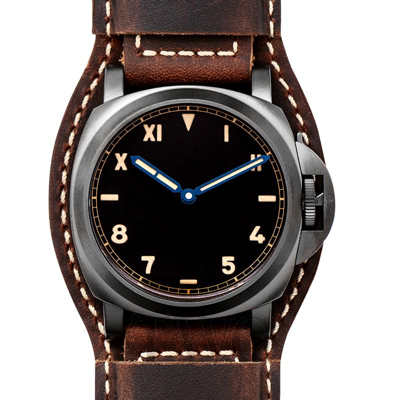Panerai Luminor, Mechanical Men's Watches, Black Dial, Leather Strap, Automatic Watch