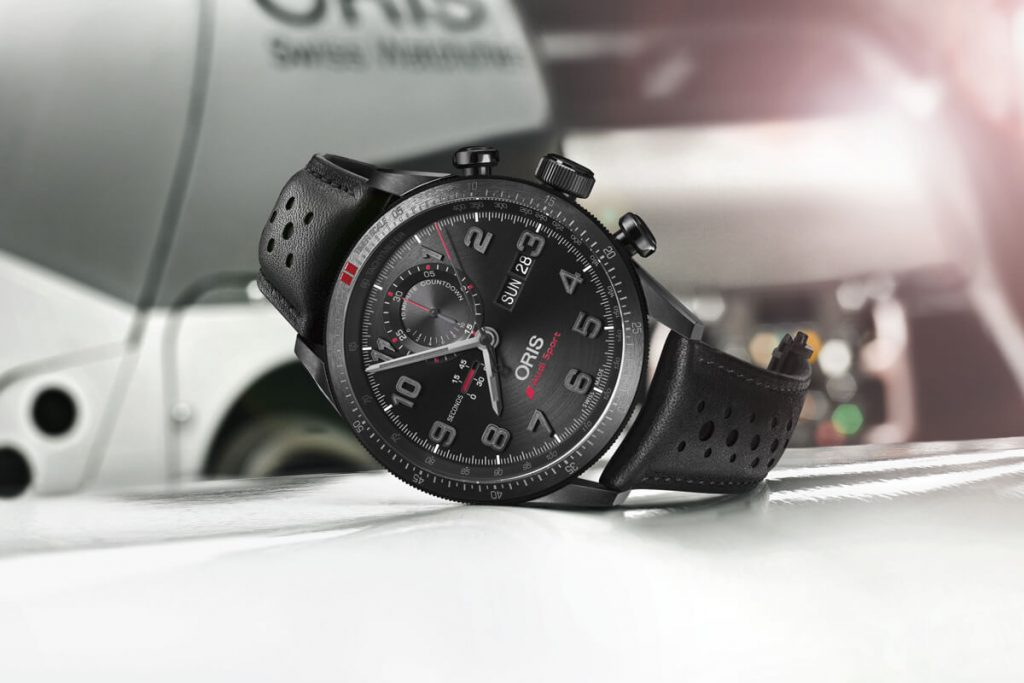 Oris Audi Sport Black Dial, Oris, Titanium, Leather, Bezel, Black
