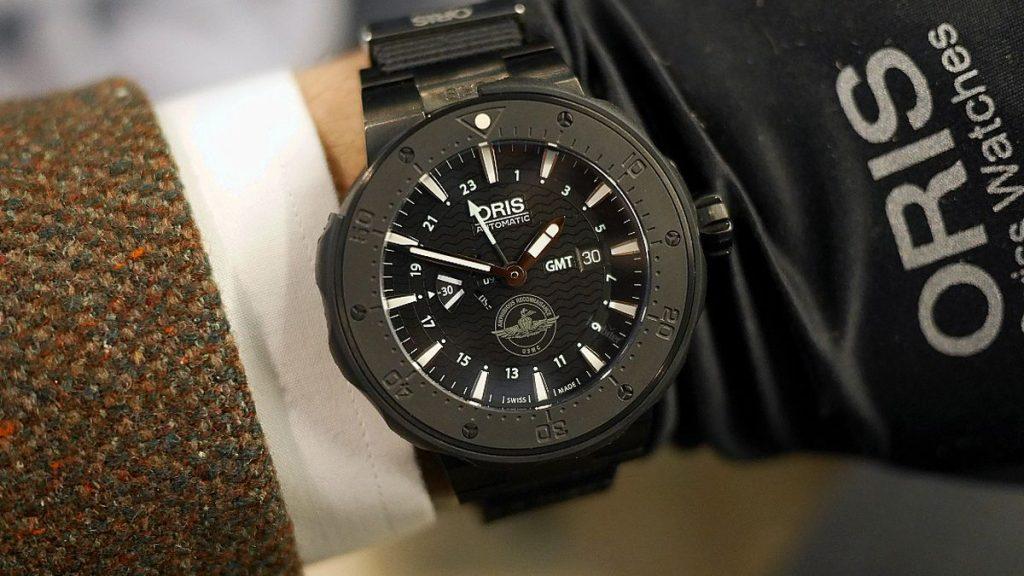Oris Force Recon GMT, Oris, Titanium, Black, Leather, FIt