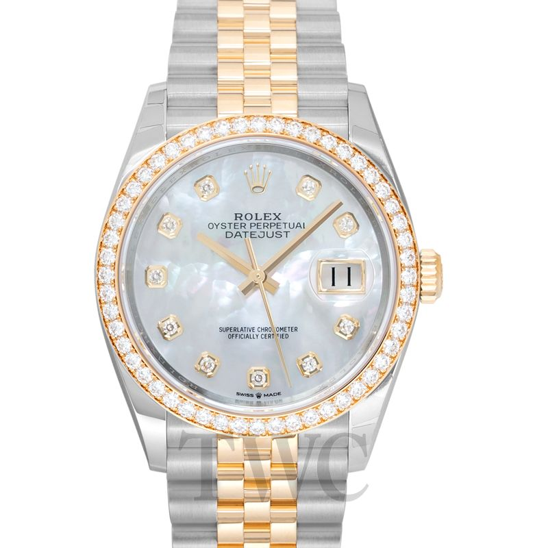 Oyster Perpetual Datejust 36 Mother of Pearl, Diamonds, Gold, Leather, Silver
