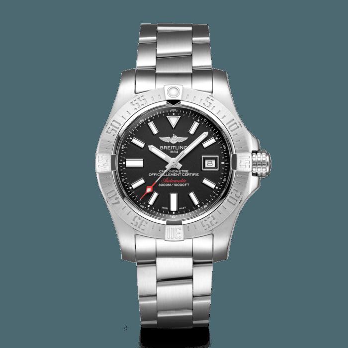 Breitling Avenger II Seawolf Steel, Grey, Silver Watch, Steel Watch, Black Dial