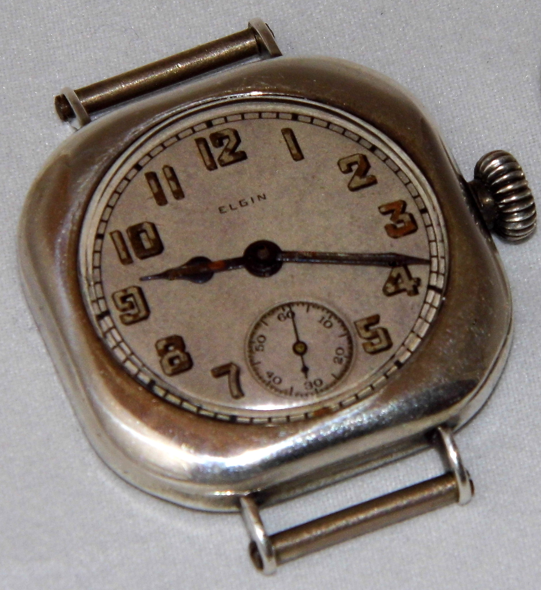 Vintage Elgin Men's Wrist Watch, Sterling Silver Case, 7 Jewels, Made In USA, Circa 1918