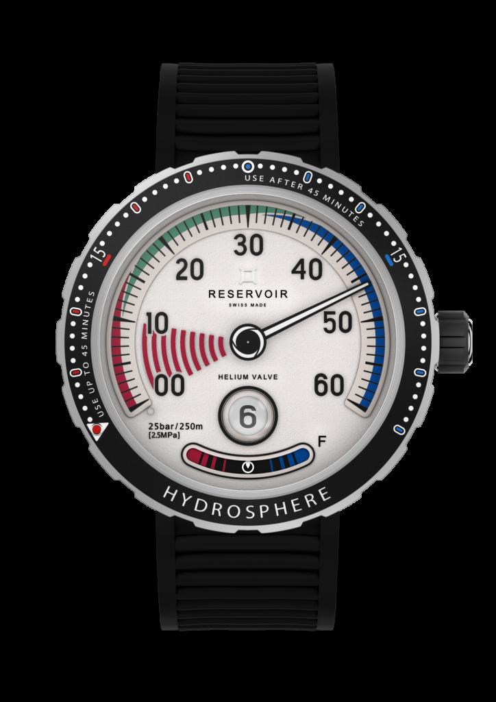 Reservoir Hydrosphere Air Gauge, Swiss Watch, Automatic Watch, Helium Valve Feature, Black Strap