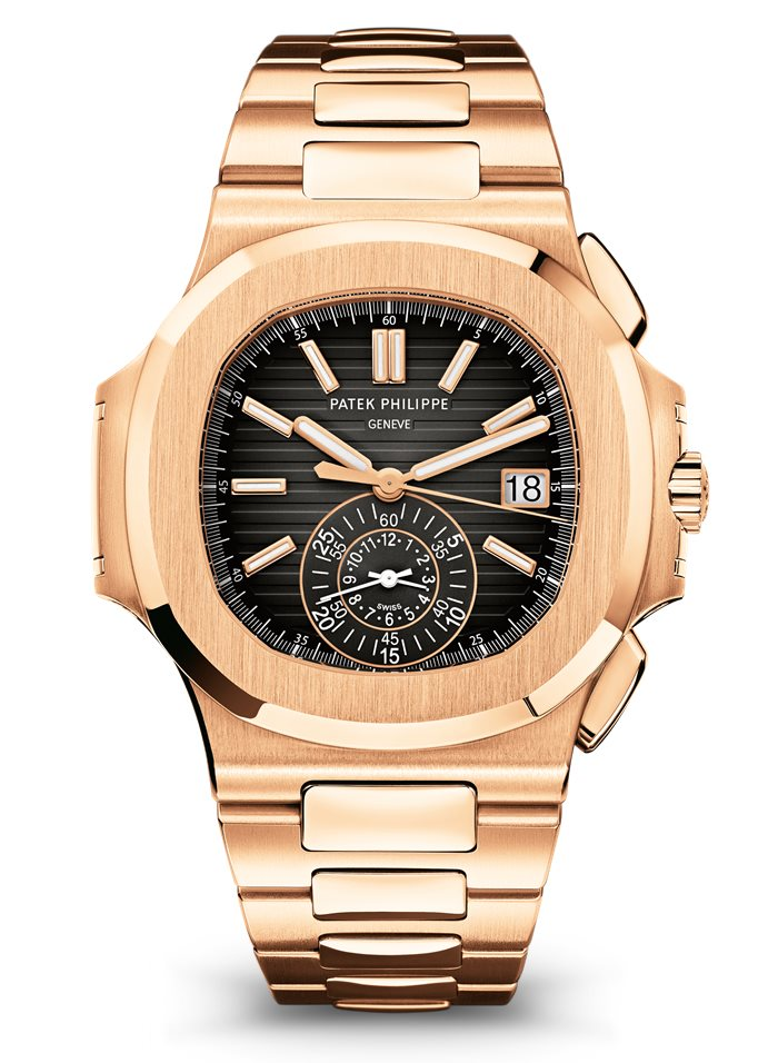Patek Nautilus 5980/1R Chronograph in Full Gold, Patek Philippe Nautilus Watches, Gold Watch, Self-winding Watch, Date Display
