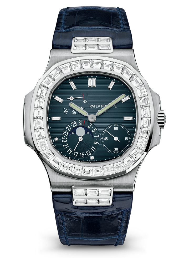 Patek Philippe Nautilus 5724G/001 Moon Phase, Patek Philippe Nautilus Watches, Blue Strap, Diamonds, Swiss Watch