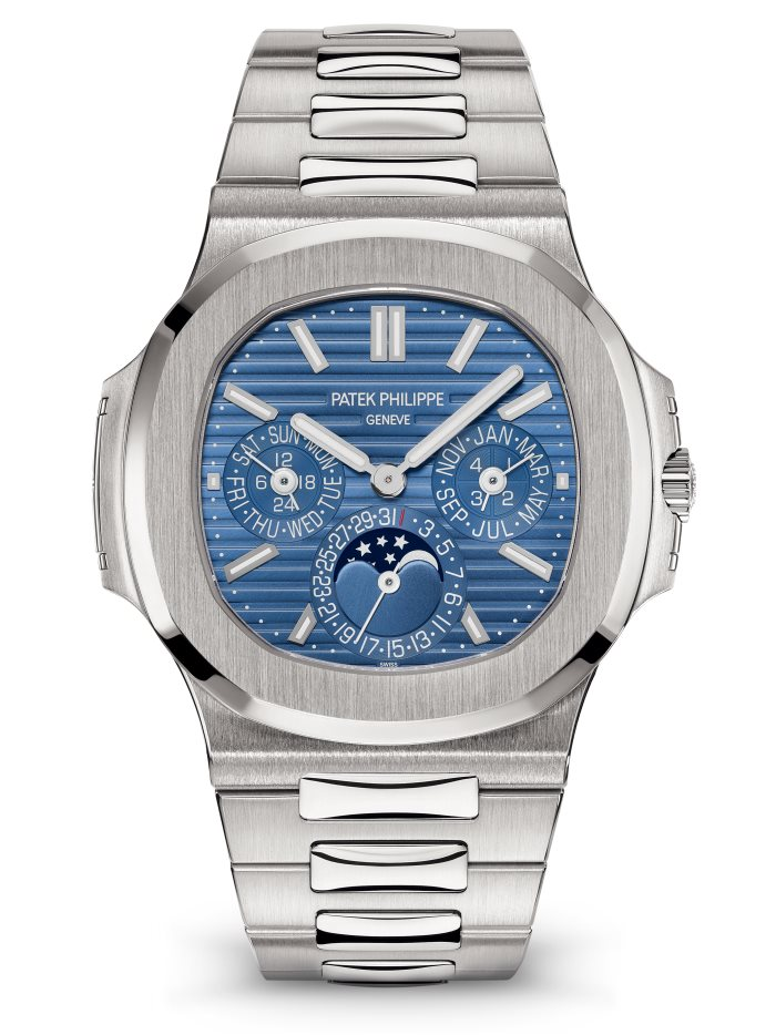 Patek Philippe Nautilus 5740/1G Perpetual Calendar, Patek Philippe Nautilus Watches, Silver Watch, Swiss Watch, Blue Watch Face