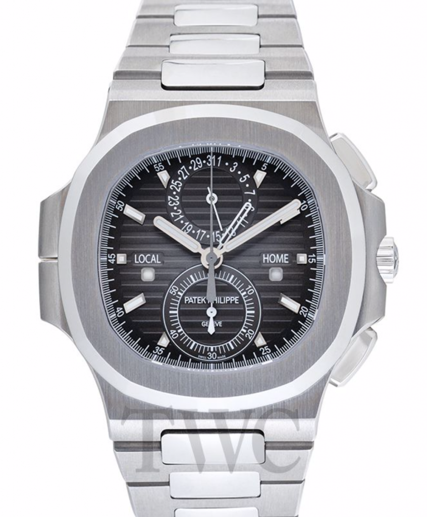 Patek Philippe Nautilus Travel Time Chronograph, Patek Philippe Nautilus Watches, Swiss Watch, Date Display, Silver Watch