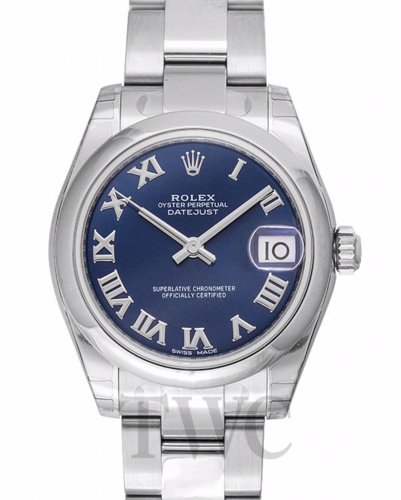 Rolex Lady Datejust, Cheapest Rolex Watches For Women, Date Display, Silver Watch, Blue Watch Face