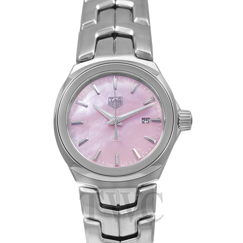TAG Heuer Link, Polished Watch, Craftsmanship, Pink Dial, Steel Construction