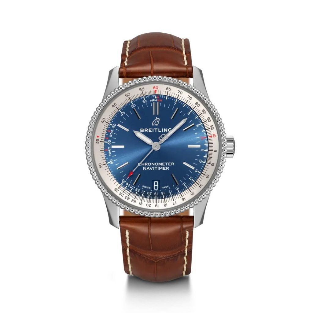 Breitling Navitimer Automatic 38, Leather, Chronograph, Blue Dial