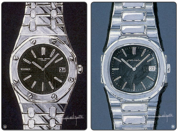 Gerald Genta's sketch of the Audemars Piguet Royal Oak and Patek Philippe's Nautilus