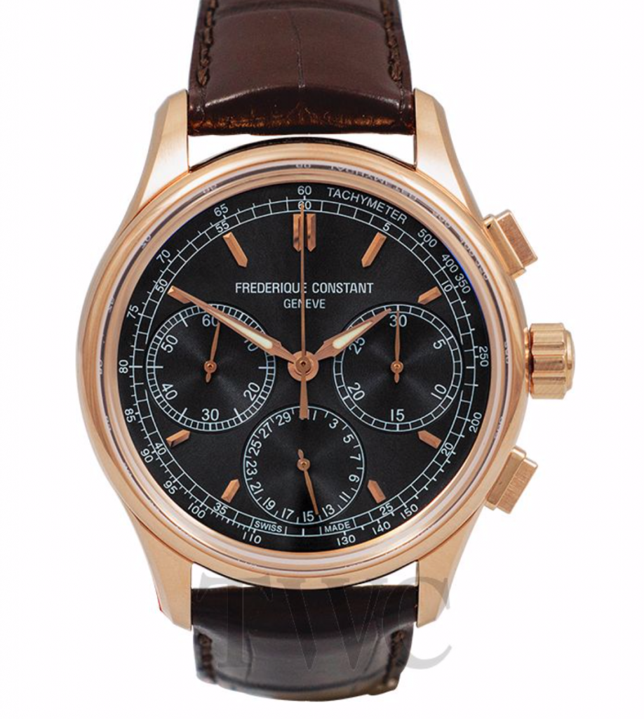 Frederique Constant Flyback Chrono, Leather Watch, Swiss Watch, Black Watch Face, Luxury Watch