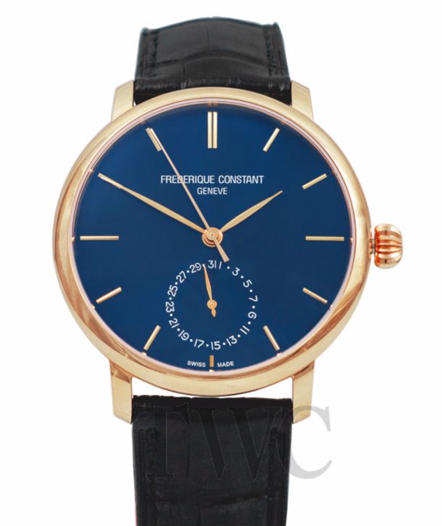 Frederique Constant Slimline Date, Blue Watch Face, Swiss Watch, Leather Watch, Gold Dial