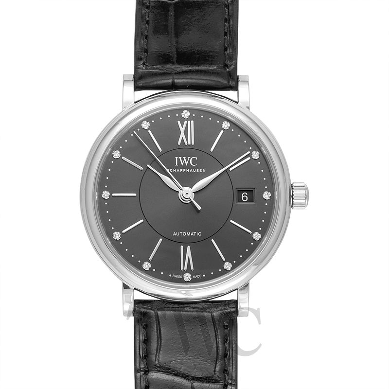 IWC Portofino IW458102, Silver Watch, Automatic Watch, Leather Strap
