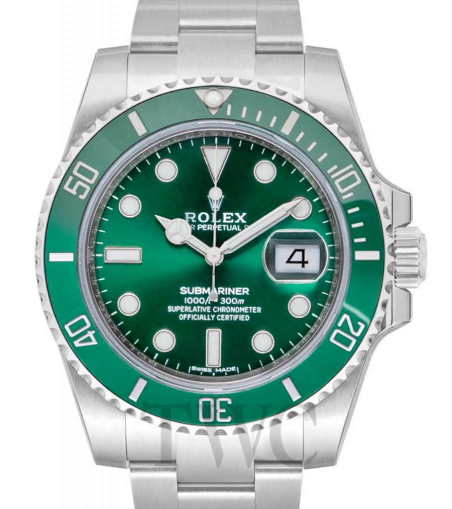 Rolex Submariner Superlative Chronometer, Omega Vs. Rolex, Green Watch Face, Date Display, Silver Watch