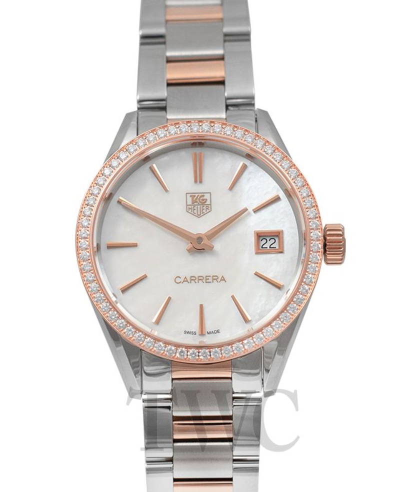 TAG Heuer Carrera Ladies Quartz Mother Of Pearl Dial, Silver Watch, Date Display, Swiss Watch