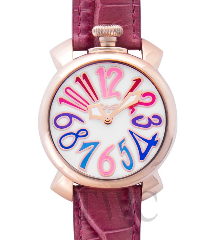 Gaga Milano Manuale Rose Pink 40mm, Italian Watch, Colourful Watch Hours, Pink Strap