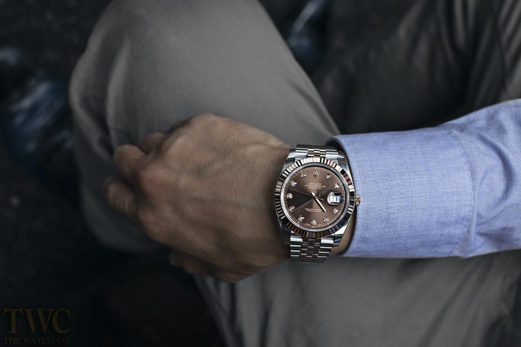 Rolex Datejust In Rose Gold, Luxury Watch, Wristwatch, Analogue Watch, Brown Watch Face