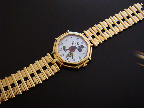 Mickey Mouse watch, gold wristwatch