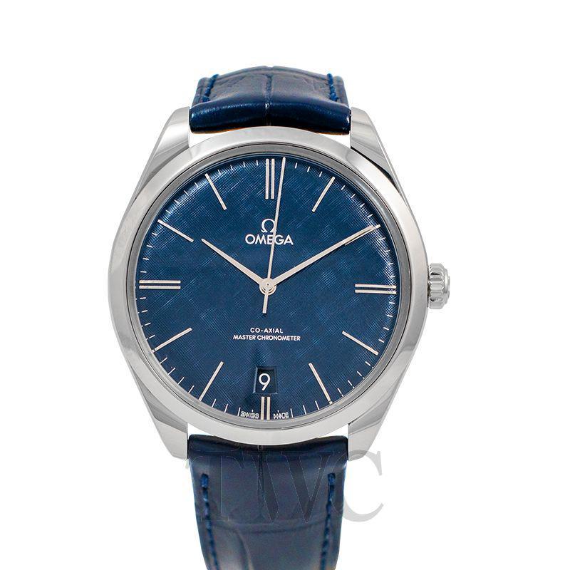 Omega De Ville Tresor, Blue Watch Face, Swiss Watch, Date Display, Leather Watch