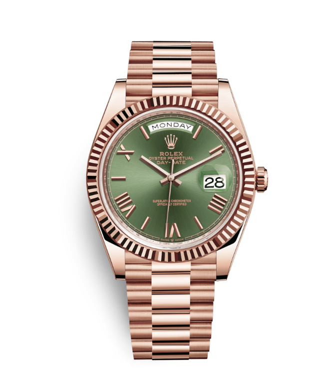 Rolex Day Date Anniversary Dial, Rolex Day Date, Green Watch Face, Date Display, Gold Watch