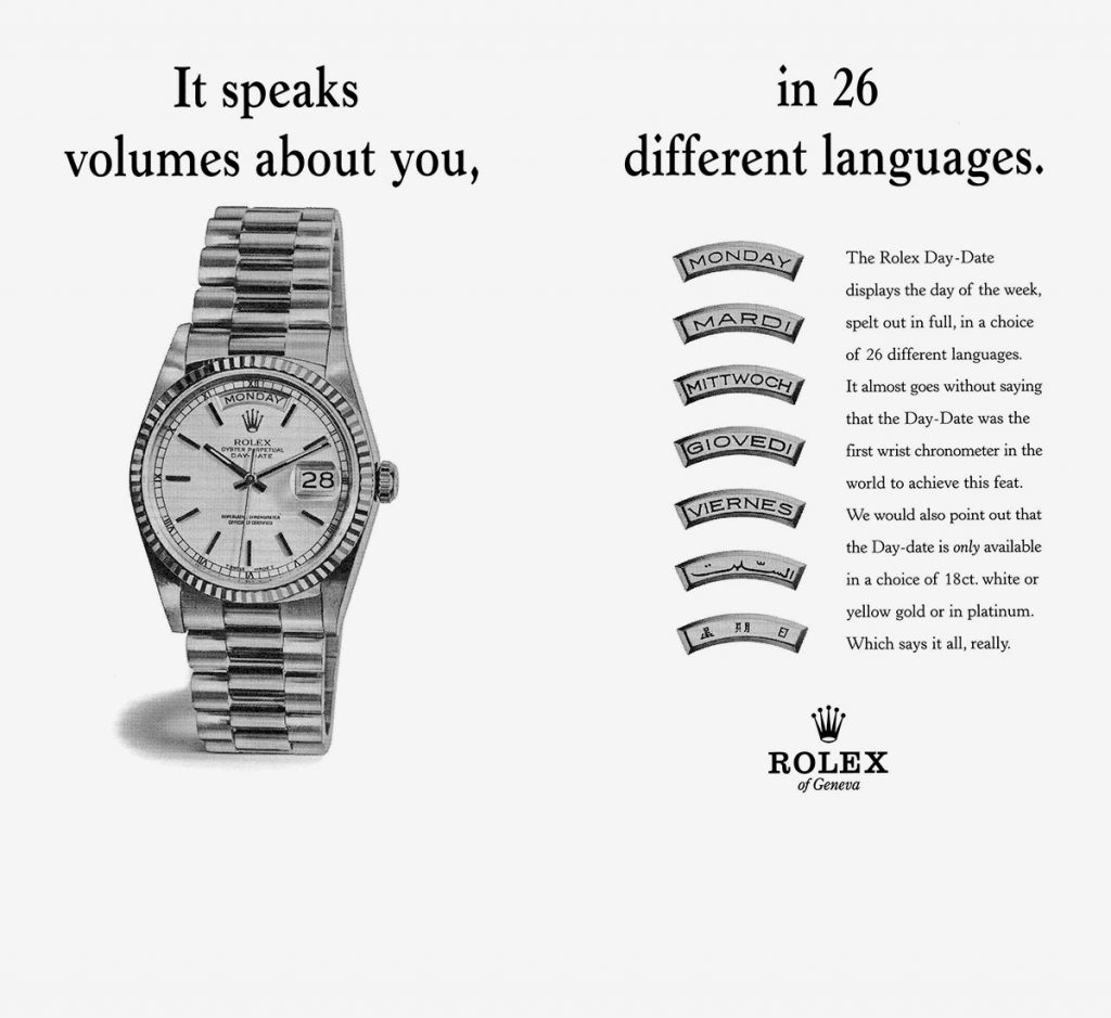 Rolex Languages, Rolex Day Date, Promotional Poster, Watch Advertisement