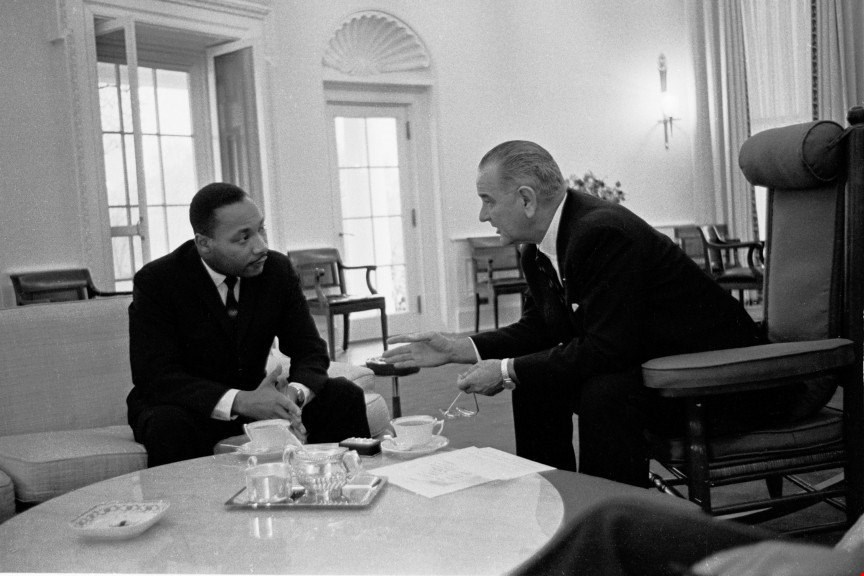 President Lyndon B. Johnson (wearing a Rolex Presidential watch) with Martin Luther King