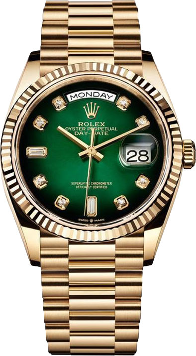 Rolex Day-Date 36mm Yellow Gold & Green Dial, Rolex Presidential Watch