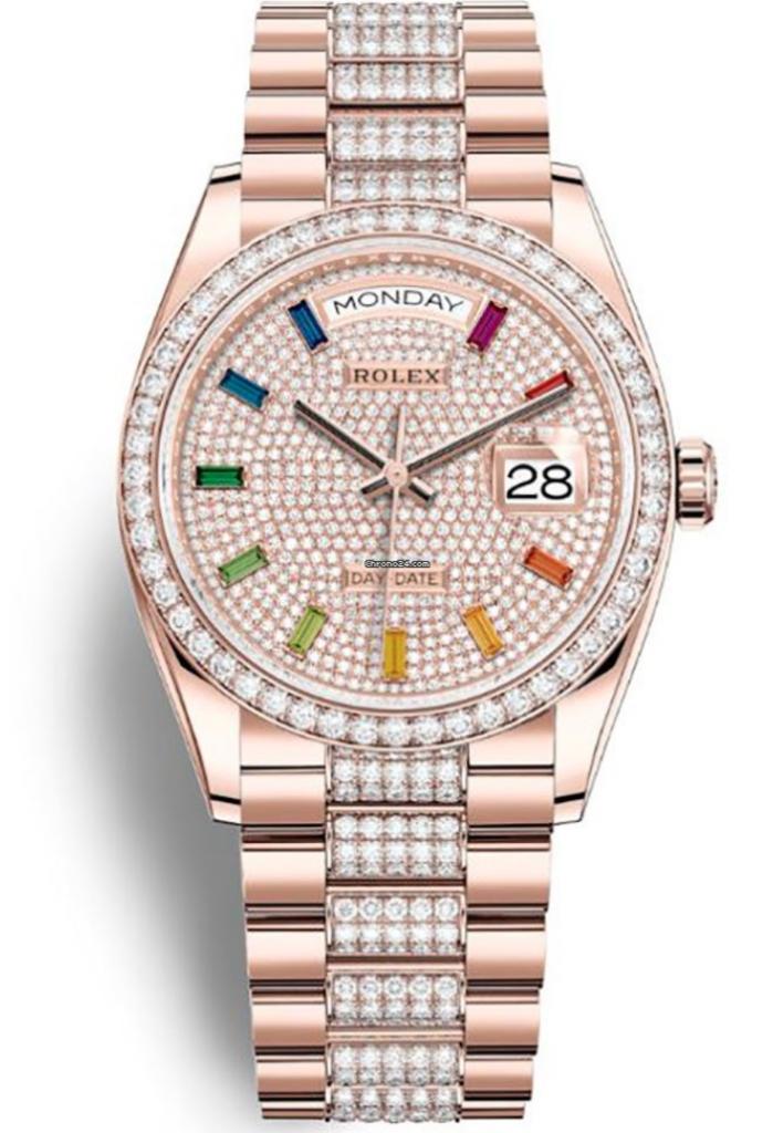 Rolex Day-Date 36mm Everose Gold & Diamonds, Rolex Presidential Watch