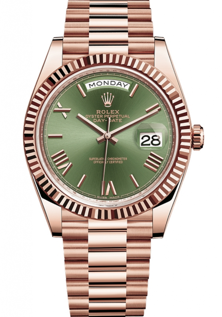 Rolex Day-Date 40mm Everose Gold & Green Dial, Rolex Presidential Watches