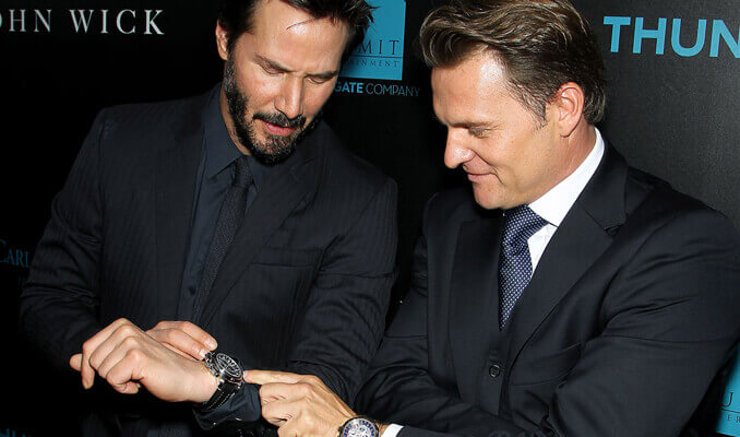 CEO of Carl F. Bucherer Sascha Moeri and Keanu Reeves at the premier of John Wick- Chapter 3
