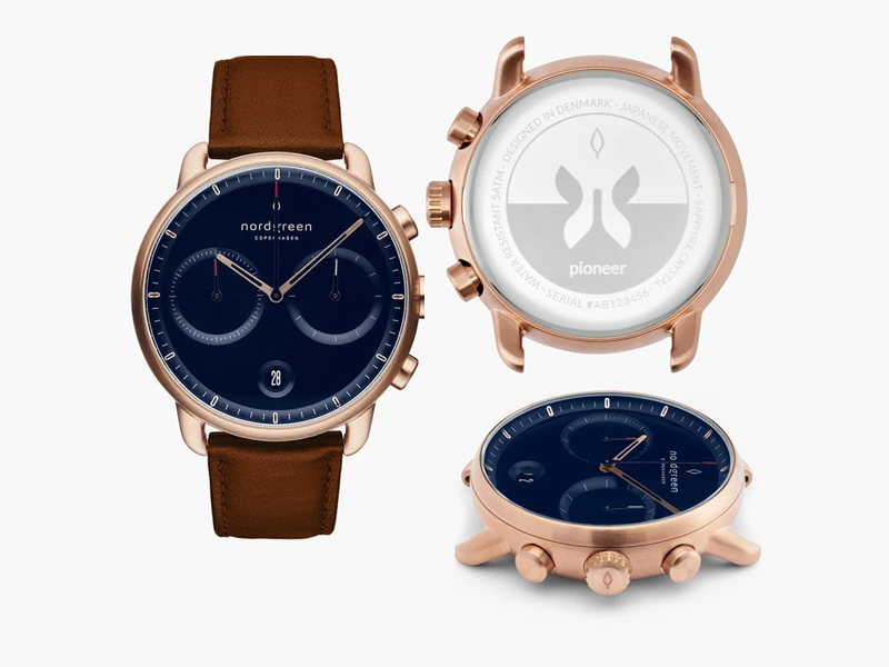 Nordgreen Pioneer Chronograph Gold Case Navy Blue Dial Brown Leather Strap