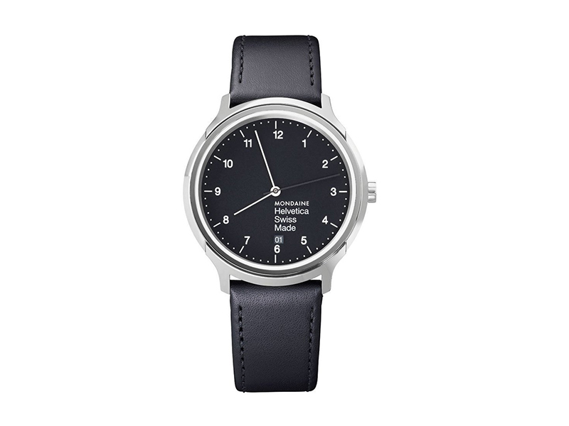 Mondaine Helvetica No1 Wrist Watch Unisex (MH1.R2220.LB) Swiss Made, Black Leather Strap, Silver Stainless Steel Case and Black Dial