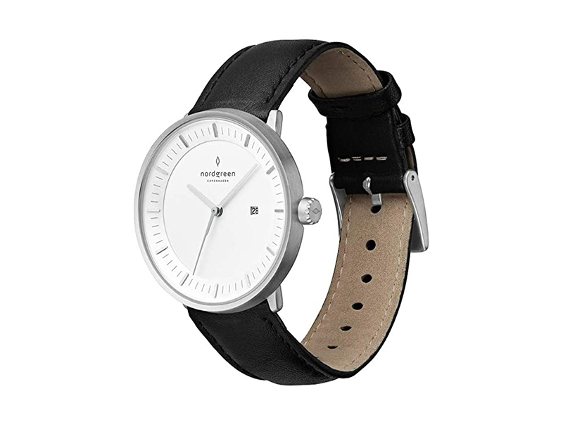 Nordgreen Philosopher Scandinavian Silver Analog Watch with Leather or Mesh Interchangeable Straps