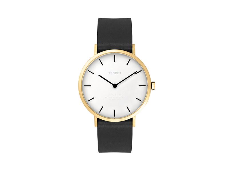 Tsovet SVT-SL37 Rose Gold & Whtie Watch | Black Leather